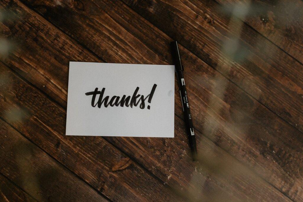 карточка с благодарностью